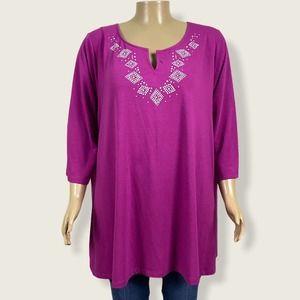 Just My Size Shirt Top Split Neck Purple 4X PLUS